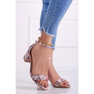 Růžové květované sandály na hrubém podpatku Sini