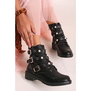 Černé kotníkové boty Lois