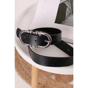 Černý kožený opasok 160059