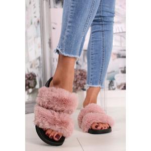 Růžové kožešinové pantofle Dalia