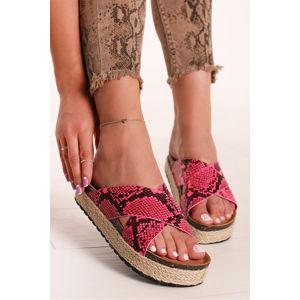 Fuchsiové platformové pantofle Evelyn