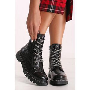 Černé kožené kotníkové boty 1-26865