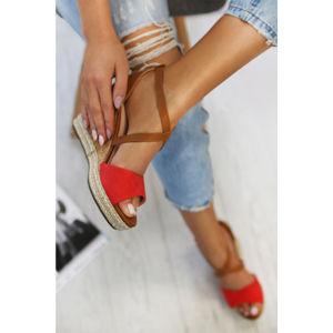 Červené platformové sandály Roxy