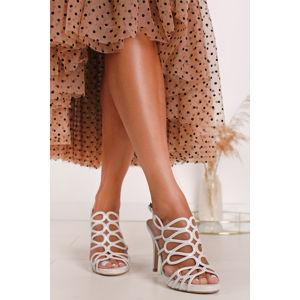 Smetanové sandály na tenkém podpatku Clementina