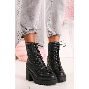 Černé kotníkové boty na hrubém podpatku Camille