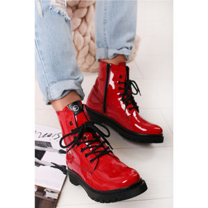 Červené kotníkové boty 1-25833