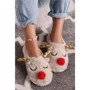 Béžové pantofle Sleepy Reindeer