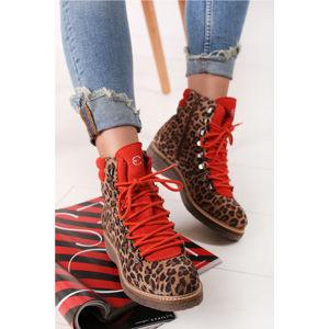 Oranžovo-leopardí kožené kotníkové boty 1-25803