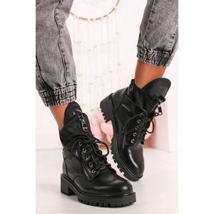 Černé šněrovací kotníkové boty Carmin