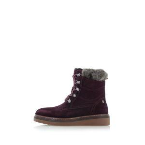 Bordové kožené boty 66415