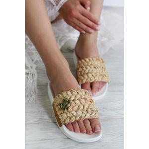 Bílo-béžové pantofle Alie 18709483