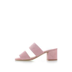 Růžové kožené pantofle 66346
