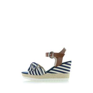 Modro-smetanové platformové sandály 2-28706
