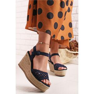 Tmavě modré platformové sandály 69575