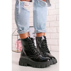 Černé šněrovací kotníkové boty Valeria