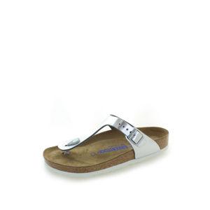 Dámské stříbrné kožené pantofle Gizeh NL