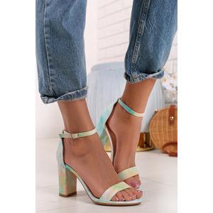 Zeleno-žluté sandály na hrubém podpatku Donna