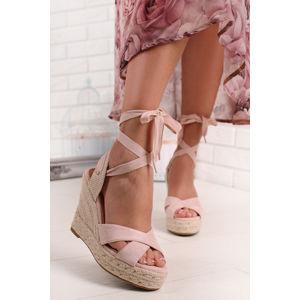 Světle růžové platformové sandály Minnie