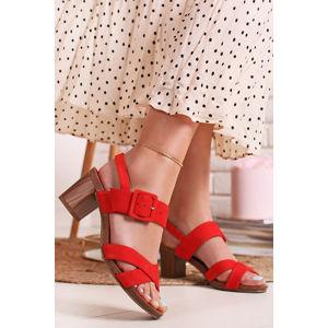 Korálové kožené sandály 9-28317