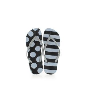 Černo-stříbrné pantofle Kaja Printed