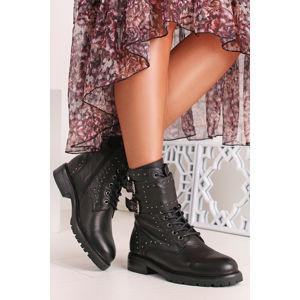 Černé kožené vybíjené boty 67565