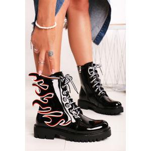 Černé kotníkové boty Flame