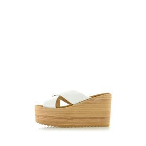 Bílé platformové pantofle Lota