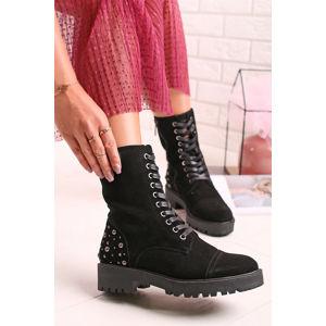 Černé kožené kotníkové boty 66989