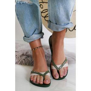 Béžovo-zelené pantofle Kirei Silk IV