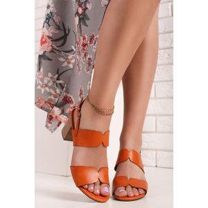 Oranžové kožené sandály na hrubém podpatku 2-28301