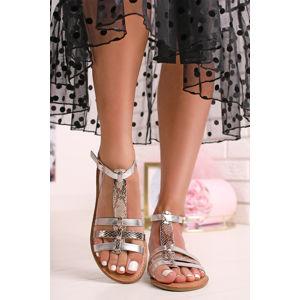 Stříbrné nízké sandály Ingrid