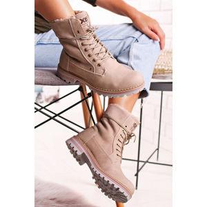 Béžové kotníkové boty 49286