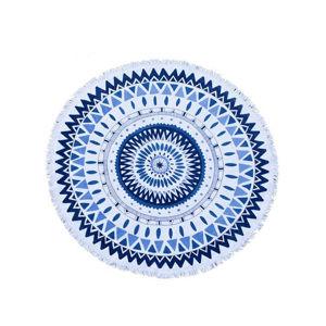 Modro-bílá kulatá osuška Blue Mandala