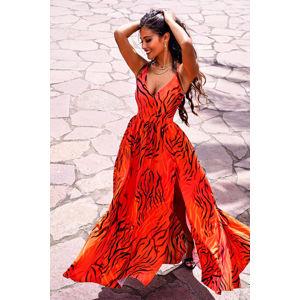 Oranžové vzorované dlouhé šaty Nina