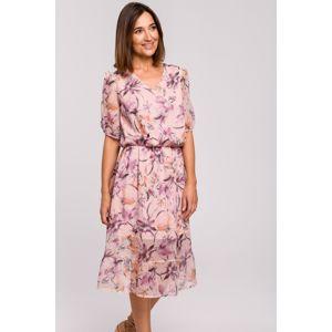 Světle růžové květované šaty S215