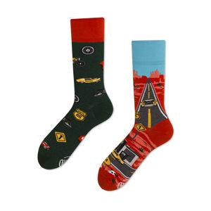 Červeno-zelené ponožky Route 66