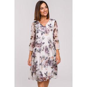 Smětanové květované šaty S214