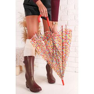 Oranžový transparentní deštník Happy Dots