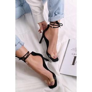 Černo-transparentní šněrovací sandály na tenkém podpatku Medea