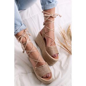 Béžové šněrovací platformové sandály Macy