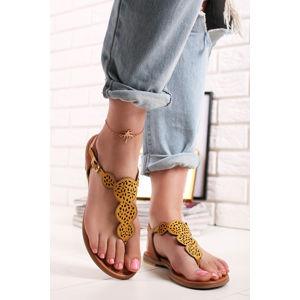 Žluto-hnědé kožené sandály 5-28102