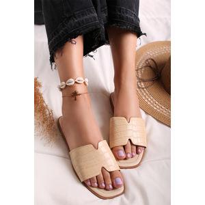 Béžové nízké pantofle Aura