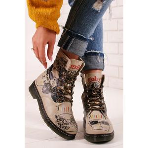 Černo-béžové kotníkové boty MRT104