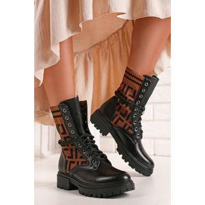 Černo-skořicové šněrovací kotníkové boty Nylah