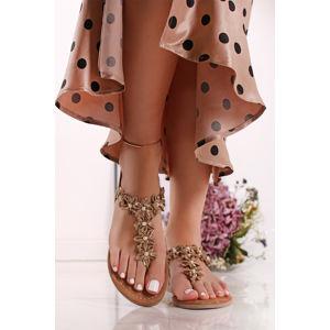 Béžové kožené sandály 2-28148