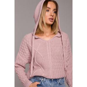 Růžový pulovr s kapucí M540