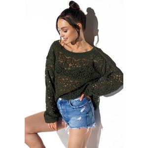 Tmavě zelený ažúrový pulovr LS296