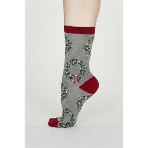 Šedé vzorované ponožky Adella Bamboo Christmas Reef