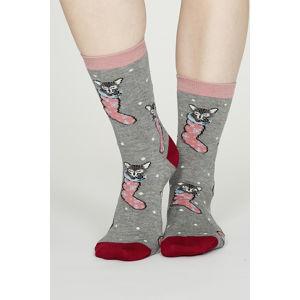 Šedé vzorované ponožky Jena Bamboo Christmas Kitten