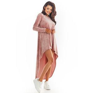 Růžové velúrové asymetrické šaty A379